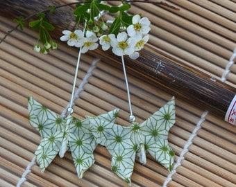 Origami paper earrings Japanese butterfly jewelry washi paper butterfly jewelry long earrings Chinese present green dangle earrings Summer