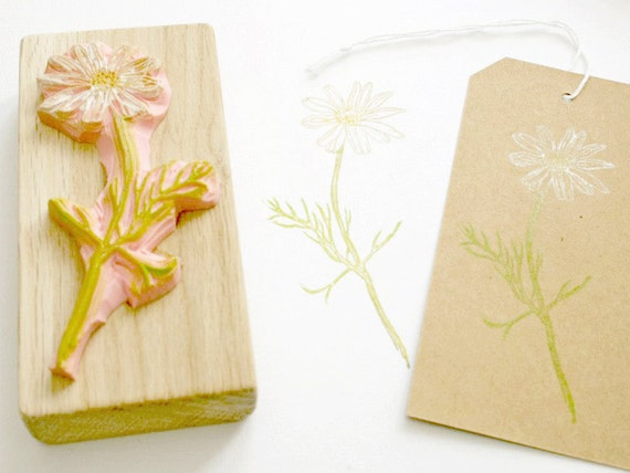 Chamomile flower hand carved stamp by the little store