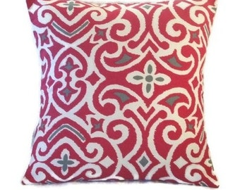 CLEARANCE SALE! Fuschia, Grey and White Decorative Pillow Cover, Throw Pillow Cover, Geometric Design 18 X 18 inches