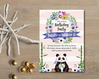 Girl Birthday Invitation Printable, Panda Birthday Invitation, Animal First Birthday Invitation, Panda Invitation Floral Birthday Invitation