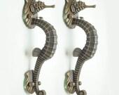 "RARE Pair set 12.20"" Vintage Big Vintage Fantasia SEA HORSE Mythology Poseidon Hardware Cabinet Solid Brass Entry Door Handle JBG2660"