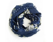 Navy blue Turkish scarf Turkish oya scarf Crochet oya Floral scarf Yemeni scarf Square scarf Gift for valentine Unique gift for her