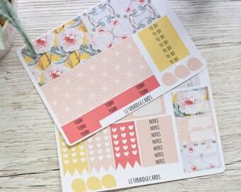 Geometic Flower ECLP Weekly Kit; Erin Condren Vertical; Vinyl Planner Stickers; Geometric Stickers; Flower Stickers