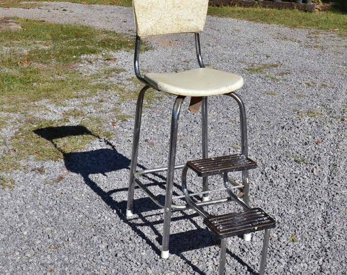 Vintage Snyder Kitchen Step Stool Retro Atomic Era Metal Chair PanchosPorch