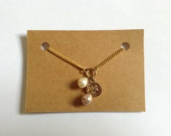 SALE - Vintage Beaded Necklace - Fresh Water Pearl - Sealife - Nautical Inspired - Gold Plated Chain - Handmade