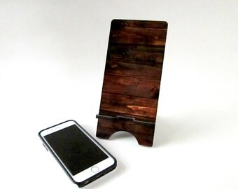 Smart Phone Stand - Brown Wood Print Cell Phone Charging Station - Smartphone Stand - iPhone 6 Stand - Rustic Home Decor or Display Stand