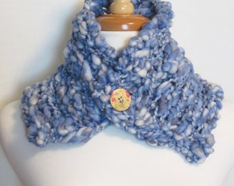 Button Up Cowl. Blue Button Up Scarf. Ships Free in the USA