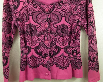 Vintage 80s Magenta Lace Print Structured Japanese Cardigan