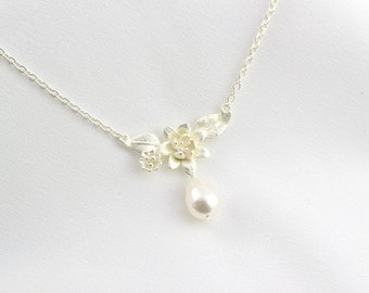 Bridal Pearl Necklace, White Teardrop Pearl Necklace, Bridesmaid Pearls, Pearl Anniversary, Maid of Honor Pearls, Wedding, Prom Pearl, N1233