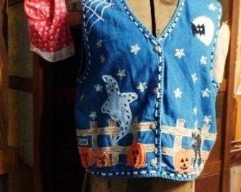 HALLOWEEN VEST-Vintage Tantrum Blues Denim-Ghost-Pumpkins-Black Cat-Spider Web-Size PL-School-Work-Casual-Party-Orphaned Treasure-101216C