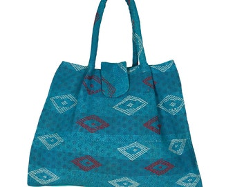 KANTHA Bag - Large - Turquoise with red and white stitched pattern