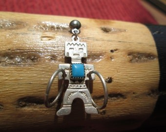 Navajo Yei Turquoise and Sterling Post Dangle Earrings