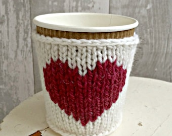 Custom Colour Cup Cozy, Heart Cup Sleeve, Knitted Coffee Cup Cosy, Gift for Her, Girlfriend Gift, Coffee Lovers Gift, Eco friendly gift
