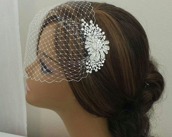 "BRIDAL HEADPIECE, Stunning Diamante Crystal Rhinestone Bridal Headpiece With Birdcage Veil, (3 Pieces) ""JASMIN"""