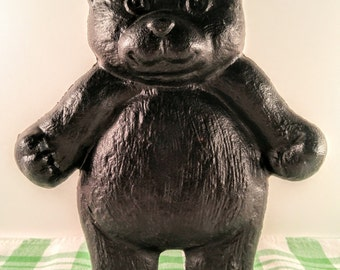 Vintage Black Bear Cast Iron Doorstop Robert EMIG 1980's. Primitive, Country, Lodge, Cabin, Child's Room Decor.