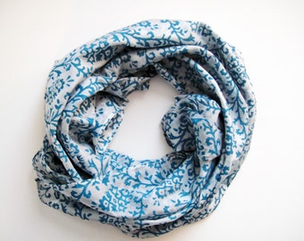 Large Square Silk Scarf White and Blue Block Print 36""