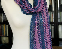 Crochet Lace Scarf 190x21cm (74.8x8.3in), 100% Cotton, Many colours
