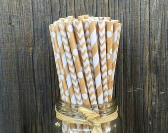 75 Kraft Brown Straws - Striped, Chevron and Polka Dot Paper Straws - Ships Same Day - Birthday, Wedding, Party Supply - Free Shipping!
