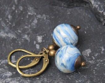 Earrings small handmade glass beads of blue/ivory bronze