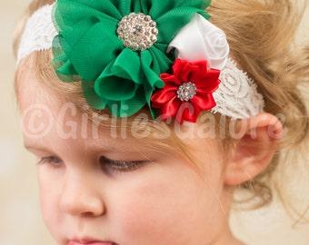 Christmas baby Headband, baby headbands, Baby Headband, Lace Christmas Headband, Girls Christmas Headbands, newborn headband,