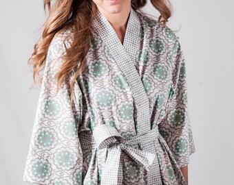 Kimono Long Robe Lined Womens Plus size Bathrobe Kimono style robe Maternity Hospital Dressing gown Floral AGF Gray Aqua Mint Green
