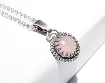 Handmade Rose Quartz pendant, sterling silver, pink pendant, crown setting, 14mm gemstone, gallery wire setting