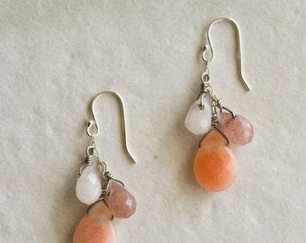 Three-stone quartz cluster earrings