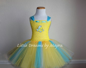 Flounder inspired tutu dress and bow - The Little mermaid inspired birthday party costume size nb to 14years