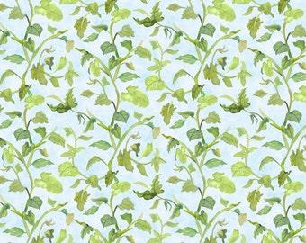 Leaf Vine Fabric - Trailing Vine - Walking on Sunshine by Joanne Porter for Wilmington Prints - 79272 407 Lt Blue - Priced by the half yard