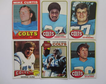 SALE - Vintage Topps Baltimore Colts Football Trading Cards Set of 6