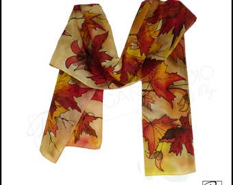 Fall Leaves Red Orange Yellow. Silk Art Scarf Hand Painted, Fall Fashion. Ready to ship.
