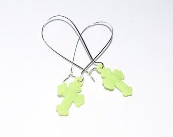 Cute Pale Green Latin Cross Design Silver Plated Drop Earrings