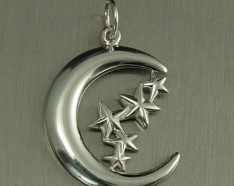 Sterling Silver Moon and Stars Charm--Celestial Pendant--Lunar Charm--Crescent Charm--Superstar Charm--Love you to the Moon and Back