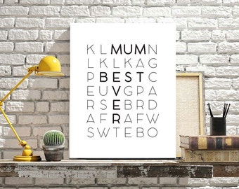 Mother's Day gift, poster A3 50x70 70x100 cm, Mother's Day poster, Scandinavian poster design, wall art Mother's Day, gitf for Mother's Day