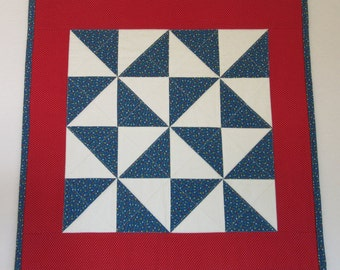 "Doll Quilt, 20"" x 20"", Mini Quilt, Red, White, Blue, Calico, Pinwheel Quilt"