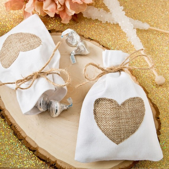 Rustic Wedding Favor Bag Shabby Chic Beach White Cotton With