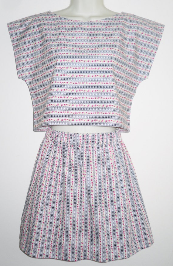 Floral and Gingham Stripe 80s Retro 2 Piece Cotton Skirt & Boxy Crop Top Small Summer