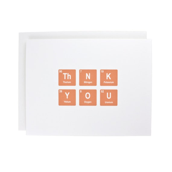 Thank you greeting card, periodic table, thanks, geeky, thank you, orange