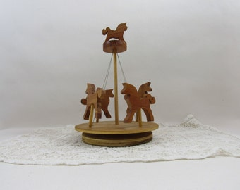 Vintage Wooden Carousel Spinning Carousel Wind Up Wooden Toy Hand Crafted Toy Home Decor Folk Art