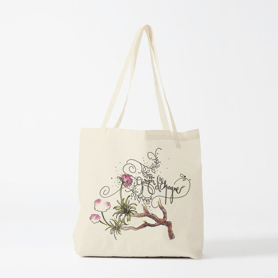 Herbarium, tote bag, Spanish Grass, canvas bag, groceries bag, reusable bag, fabric tote, gift women, gift coworker, novelty gift, totebag.