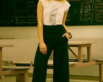 Women's legging - Strech pants - Comfortable - Yoga - Exercise - Mid lenght- Large waistband - Truffe pants black -20% off!