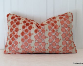 Both Sides ONE Duralee Soskin Coral Pillow Cover with Knife Edge or Self Cording