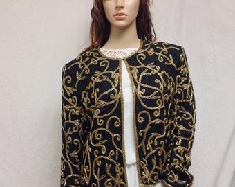 Beaded jacket,Black,Gold ,Beaded Top ,Size 10, Long Sleeve