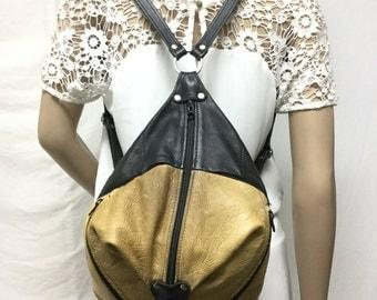 Free ship, backpack bag.leather backpack, Tan, Black ,Leather ,Back pack