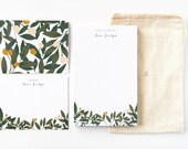 Personalized Stationery Set   Illustrated Floral Stationery Gift Set with Custom Notepad, Flat Cards, and Notecards : Orchard