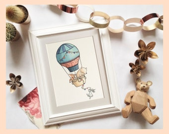 "Woodland animals, hot air balloon ride illustration. 8""x10"" mounted nursery art print."