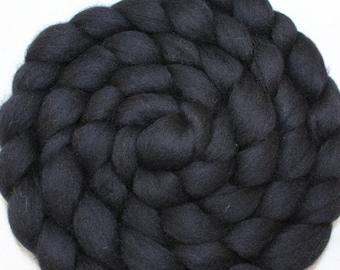 Baby Alpaca Roving / Combed Top - Black 4 oz Braid