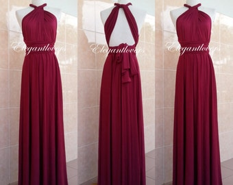 Convertible Dress Maroon Wedding Dress Bridesmaid Dress Infinity Dress Wrap Dress Evening Cocktail Party Maxi Elegant Prom Bridal Dresses