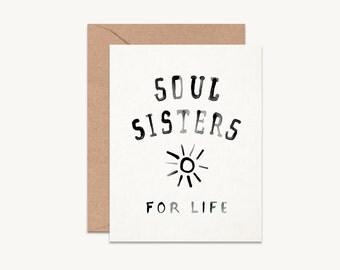 Soul Sisters card   Best friend card   Best friend gift   Best friend birthday   Bridesmaid squad card   Friendship card  Bestie card GCMC01