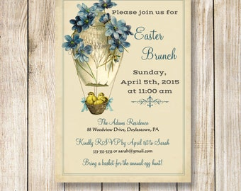 Easter Invitation, Easter Brunch Invite, Easter Dinner Invitation, Vintage Chick Easter Invite, Easter Party Invitation, Egg Hunt Invite